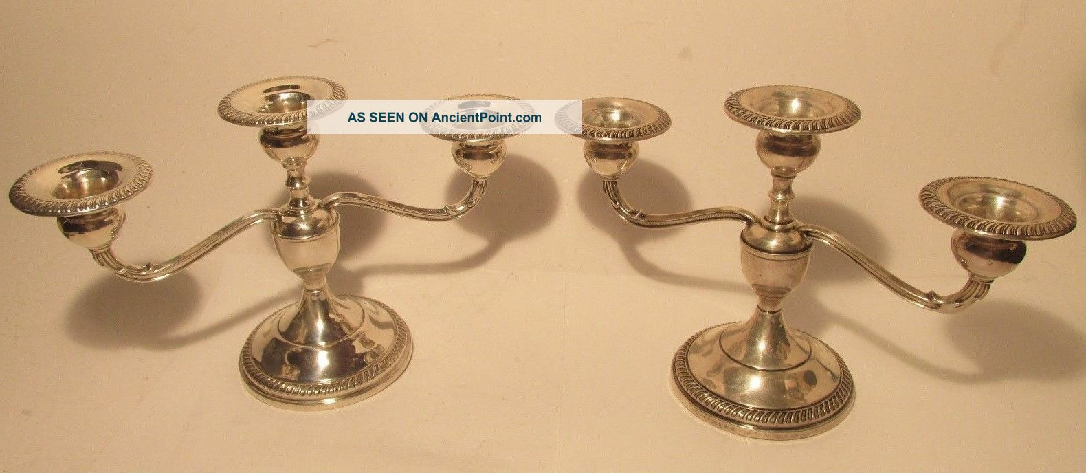 Vintage 1930s - 1940s Fisher Silversmiths Sterling Silver 3 Candle Candelabras Nr Candlesticks & Candelabra photo
