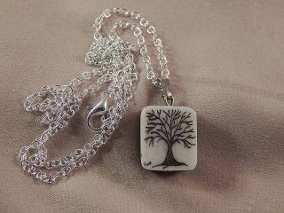 Scrimshaw Bovine Bone Pendant Tree Of Life photo