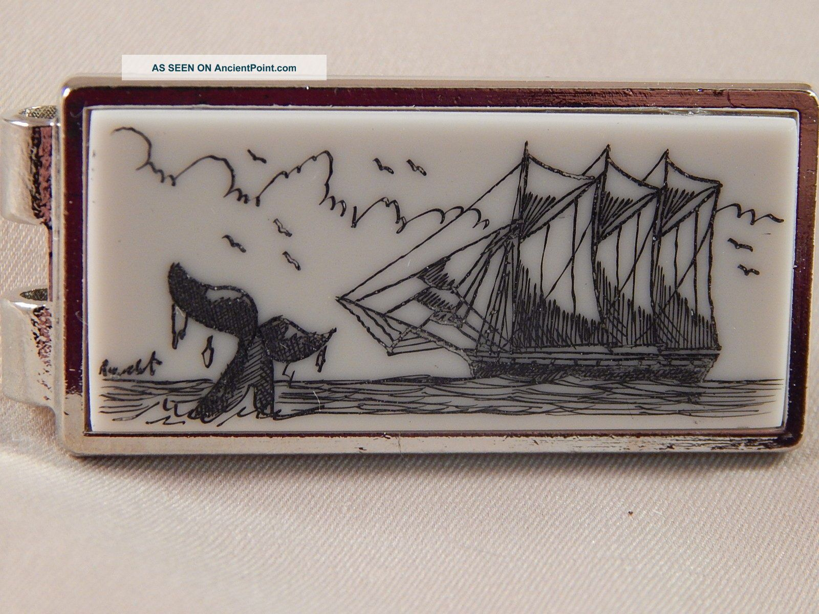 Scrimshaw Resin Money Clip Silver - Schooner - Whale Tail Scrimshaws photo