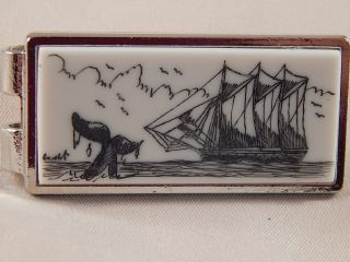 Scrimshaw Resin Money Clip Silver - Schooner - Whale Tail photo