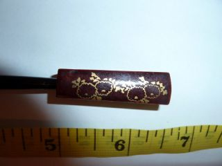 Japanese Wooden Hair Pin Kogai Kanzashi Hand Painted photo