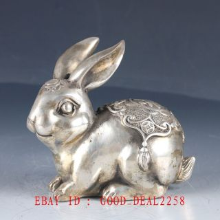 Old Chinese Silver Bronze Hand Made Carved Lovely Rabbit Statue photo