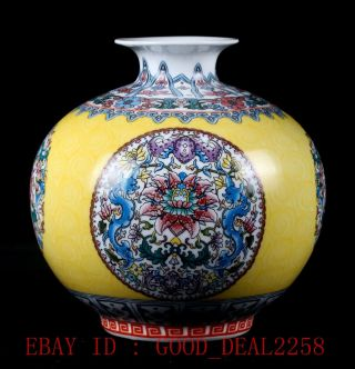 Chinese Famille Rose Porcelain Hand - Painted Peony Vase W Qianlong Mark photo