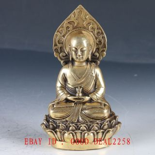 Old Brass Hand Made Carved Pharmacist Buddha Statue / Ming Dynasty Xuande Mark photo