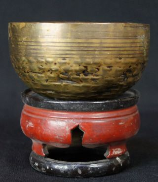 Antique Japanese Buddhist Bronze Hammered Bell Rin 1800 ' S Japan Craft photo