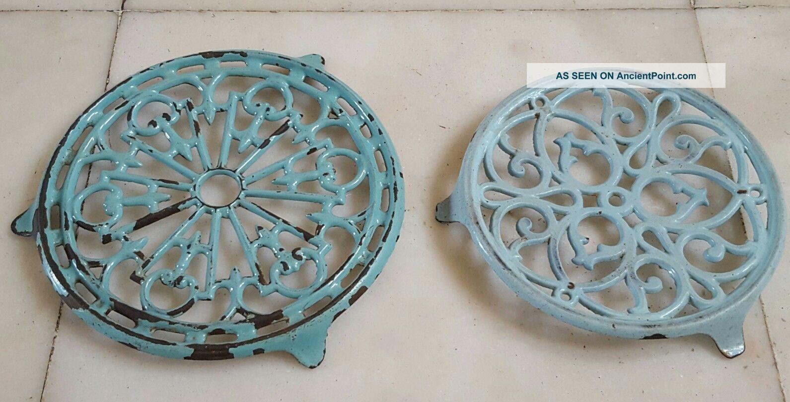 Pair Vintage French Enamel Cast Iron Trivets Light Blue Celadon Trivets photo
