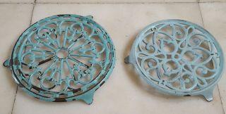 Pair Vintage French Enamel Cast Iron Trivets Light Blue Celadon photo