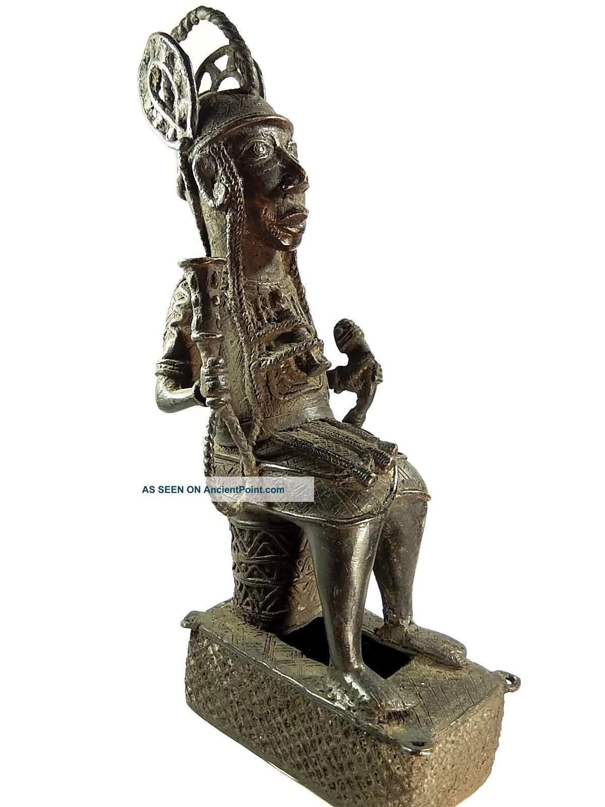 African Tribal Antique Benin Cast Bronze King Oba Figure Sculptures & Statues photo