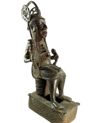 African Tribal Antique Benin Cast Bronze King Oba Figure photo