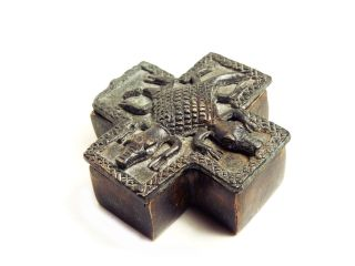 African Tribal Rare Antique Ashanti Cast Bronze Gold Sand Box - Double Crocodile photo