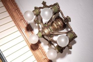 {{rare}} 1920s Riddle Vintage Art Deco Antique Ceiling Light Fixture Chandelier photo