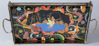 American Art Deco Machine Age C.  1930 Pierrot Adorned Cocktail Tray Colorful Nr photo