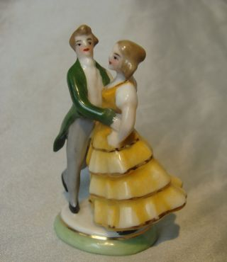 Antique German Lady & Man Dancing Doll Cake Topper/doll House Germany Half Doll photo