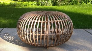 Franco Albini Mid Century Modern Rattan Wicker Ottoman Pouf Stool Table Italy photo