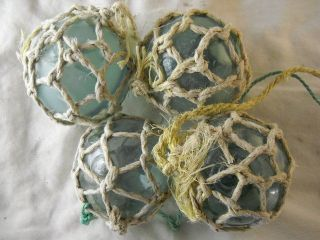 4 Netted Authentic Beachcombed Japanese Glass Fishing Floats,  Marks In A Circle photo