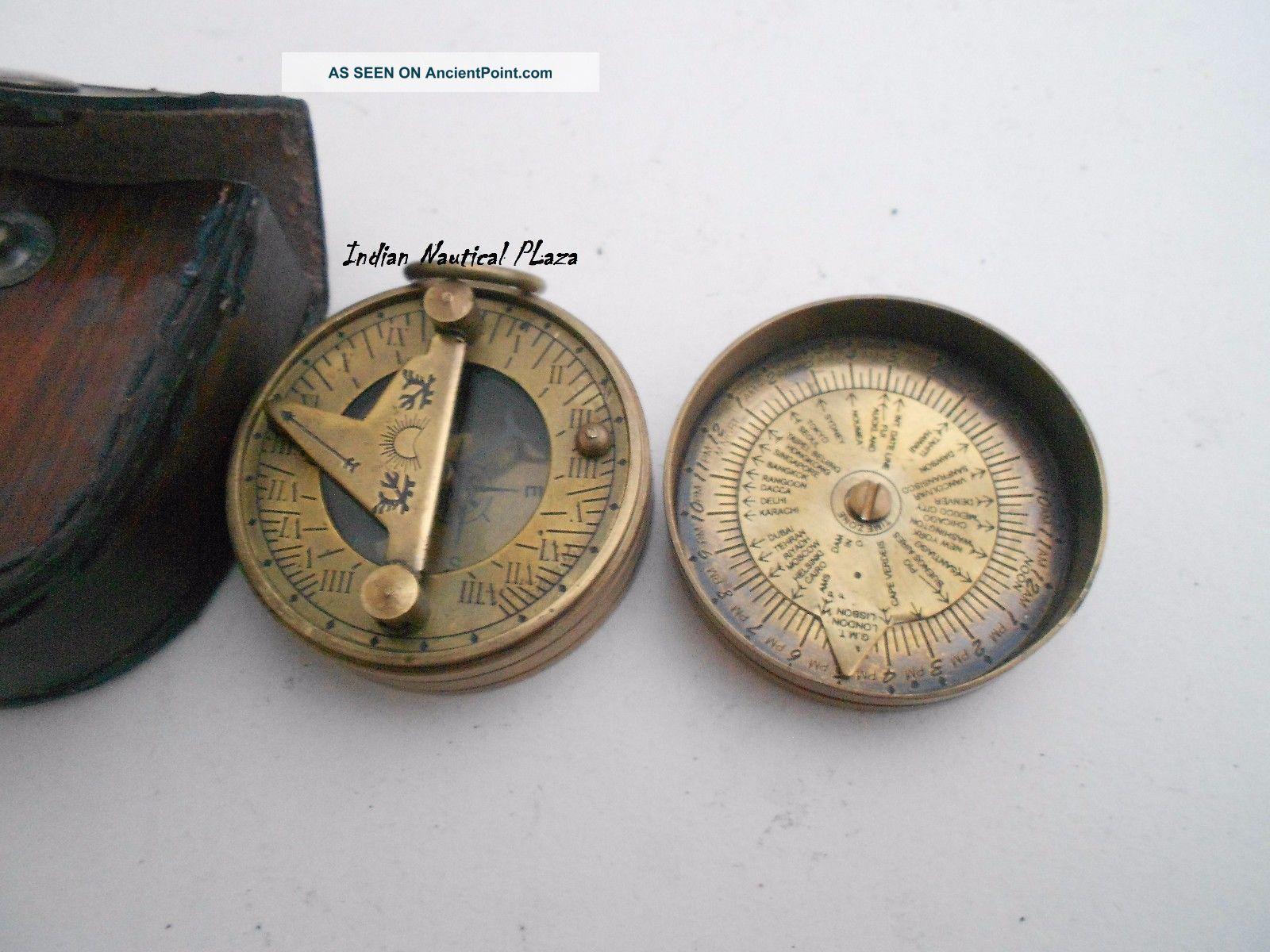 Antique Finish Nautical Maritime Compass Brass Pocket Sundial Compass w// Lid