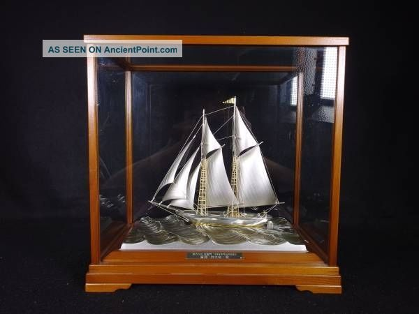 Large Signed Japanese 2masted Sterling Silver Takehiko Boat Ship Japan 200 Grams Other Antique Sterling Silver photo