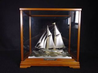 Large Signed Japanese 2masted Sterling Silver Takehiko Boat Ship Japan 200 Grams photo
