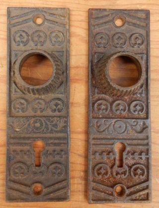 2 Antique Victorian Eastlake Cast Iron Door Knob Backplates Ship $4.  95 - $5 Off photo