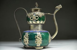 Delicate Chinese Silver Dragon Inlaid Jade Handmade Carved Monkey Flagon photo