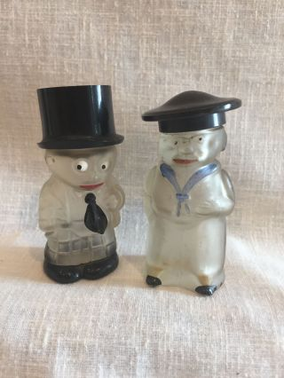 Two Vintage Figural Perfume Bottles With Painted Decoration photo