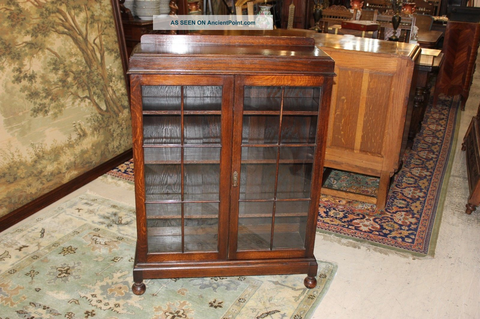 English Antique Georgian Oak Bookcase / Display Cabinet. 1900-1950 photo