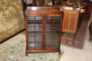 English Antique Georgian Oak Bookcase / Display Cabinet. photo
