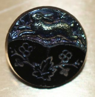 Antique Victorian Black Glass Picture Button Rabbit Jumping Carnival Luster photo