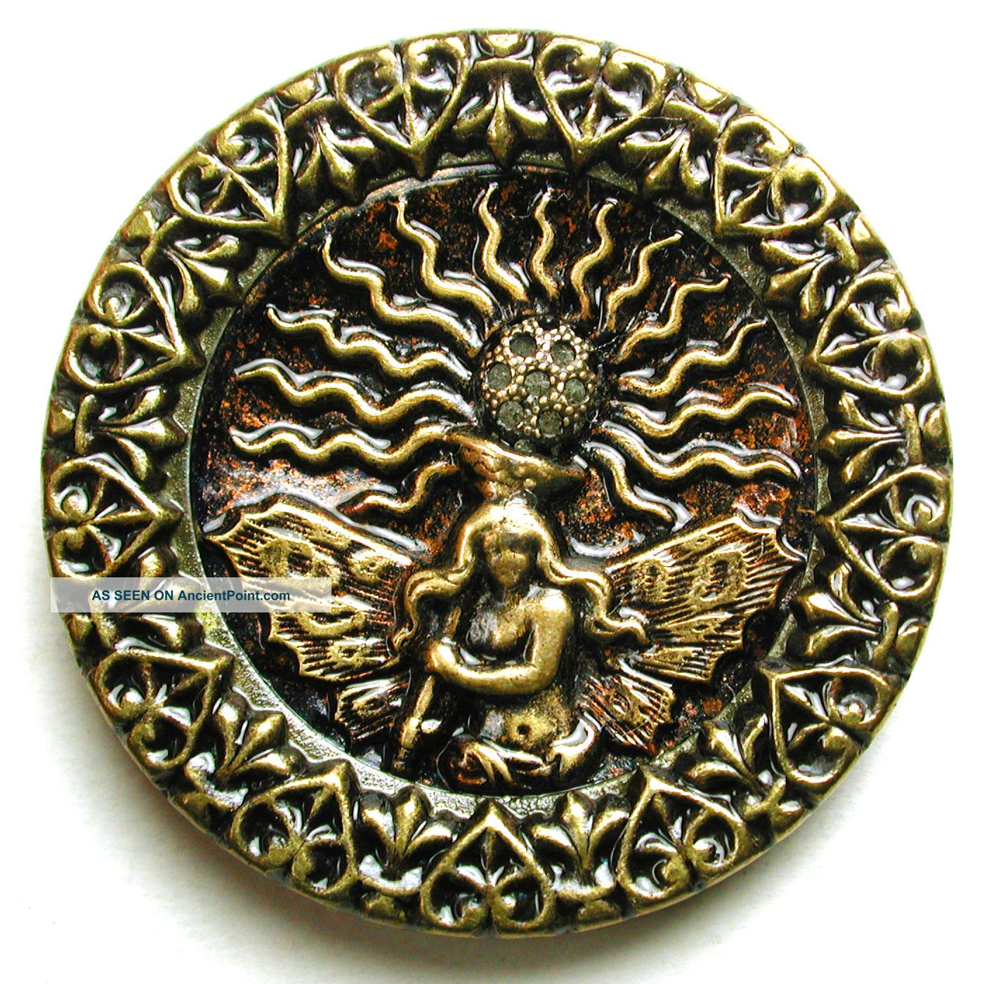Lg Sz Antique Brass Button Detailed Fire Fairy Pictorial Image 1 & 7/16