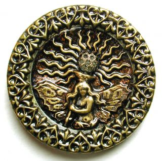 Lg Sz Antique Brass Button Detailed Fire Fairy Pictorial Image 1 & 7/16