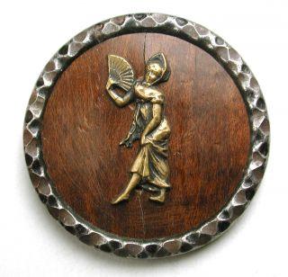 Lg Sz Antique Woodback Button French Fop Woman W/ Fan - Paris Back - 1 & 5/16