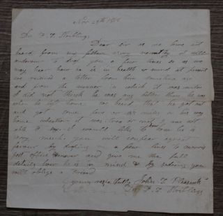1856 Western Lunatic Asylum Letter - Father Escapes Hospital - Dr.  Stribling photo