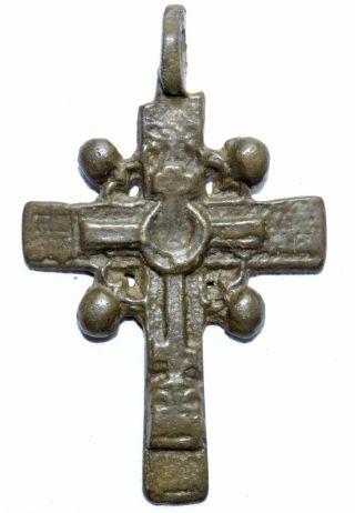 Lovely Late Medieval Bronze Radiate Cross Pendant - Wearable Artifact - St7 photo