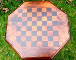 Regency.  Games Table With Octagonal Top.  Chess Or Draughts.  C1790 - 1830. photo