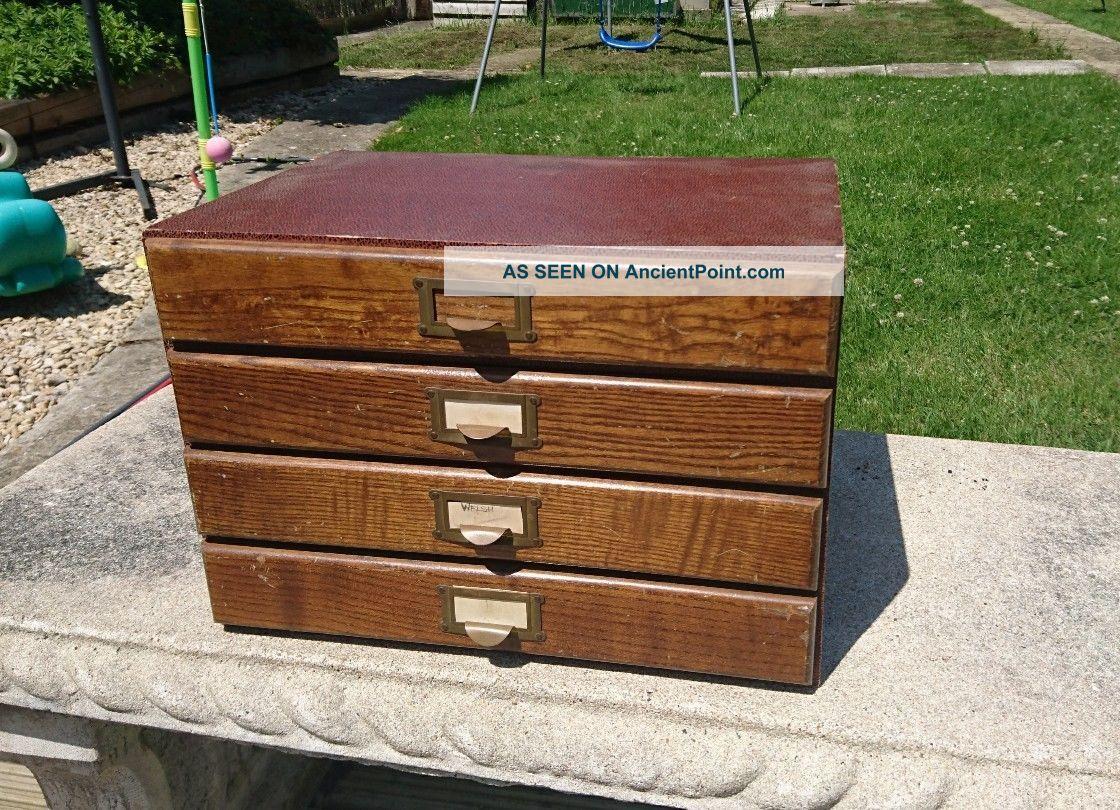 Vintage 4 Drawer Wooden Desk Top Cabinet 1900-1950 photo