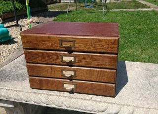 Vintage 4 Drawer Wooden Desk Top Cabinet photo