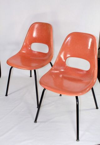 Pair - Vintage Mid Century Fiberglass Chairs - Krueger - Coral Color photo