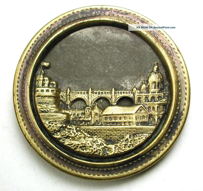 Lg Sz Antique Brass Button Castle & Town W/ Large Bridge Image 1 & 7/16