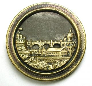 Lg Sz Antique Brass Button Castle & Town W/ Large Bridge Image 1 & 7/16
