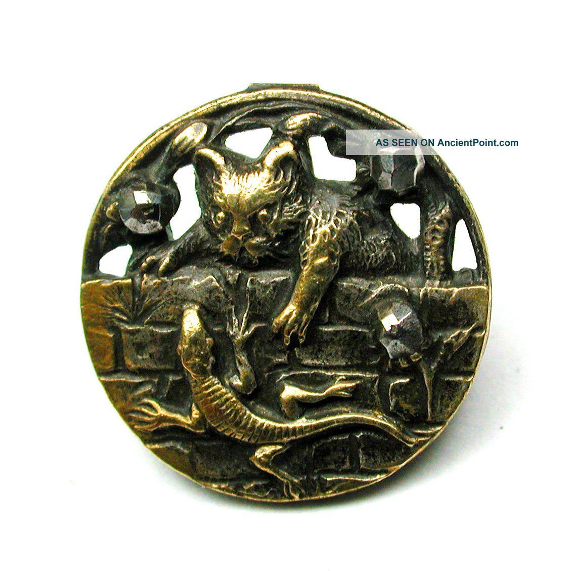 Antique Pierced Brass Button Cat & Lizard On Wall W/ Steel Accents - 1/2