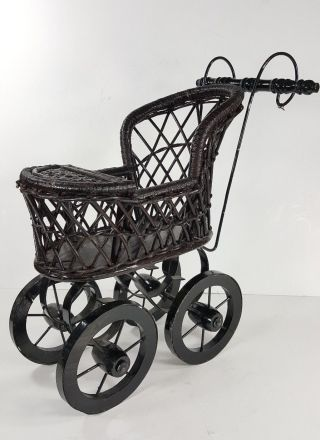 Vintage Thomas Pacconi Victorian Style Wood Wicker Doll Stroller/ Buggy/carriage photo