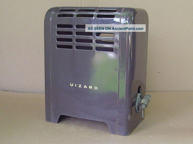 Vintage Wizard Western Auto Gas Room Heater Brown Porcelain Enamel Space Bath Stoves photo