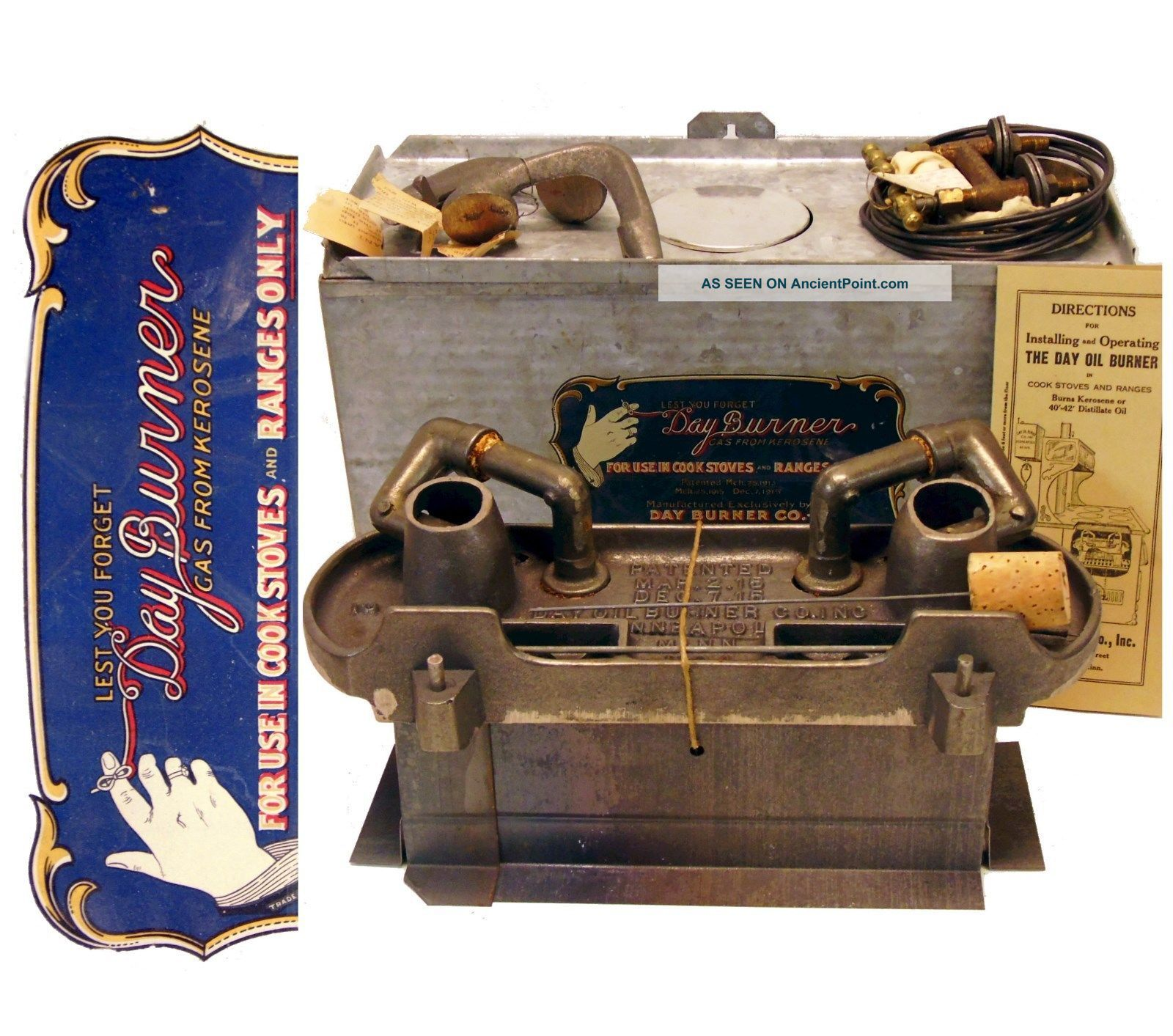 Antique Day Oil Burner Kerosene Conversion Kit For Wood Burning Cook Stove Range Stoves photo