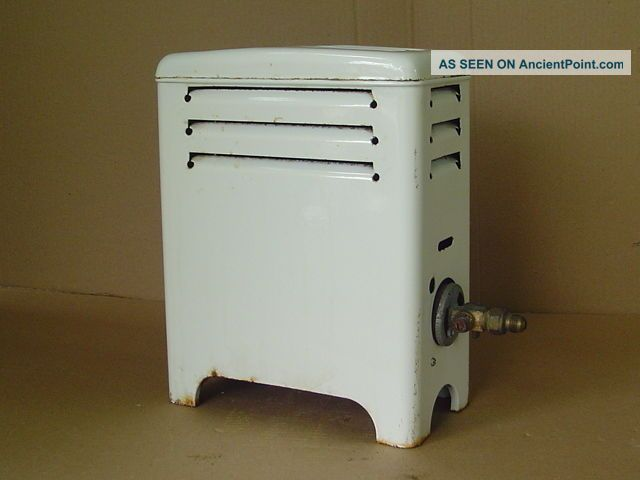 Vintage Martin U - 4510 Gas Room Heater White Porcelain Enamel Bathroom Space Stoves photo