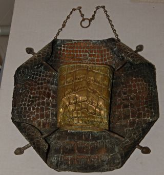 Antique Brass Armorial Fire Place Match Holder Alligator Stamped Pattern 1910 photo