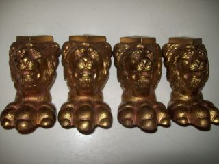 4 - Vintage Claw Foot Lion Paw And Head Feet - - - Cast Iron photo