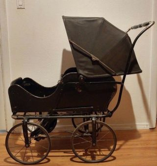 Antique C.  1920 Allwin Baby Infant Carriage Buggy Stroller Pram Convertible Rare photo