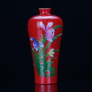 Chinese Colourful Porcelain Painted Orchid Vase photo