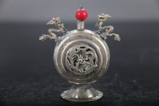 Chinese Old Antiques Handmade Carving Dragon Tibetan Silver Snuff Bottle E478 photo