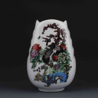 Chinese Color Porcelain Hand - Painted Crowned Crane & Peony Vase W Qianlong Mark photo